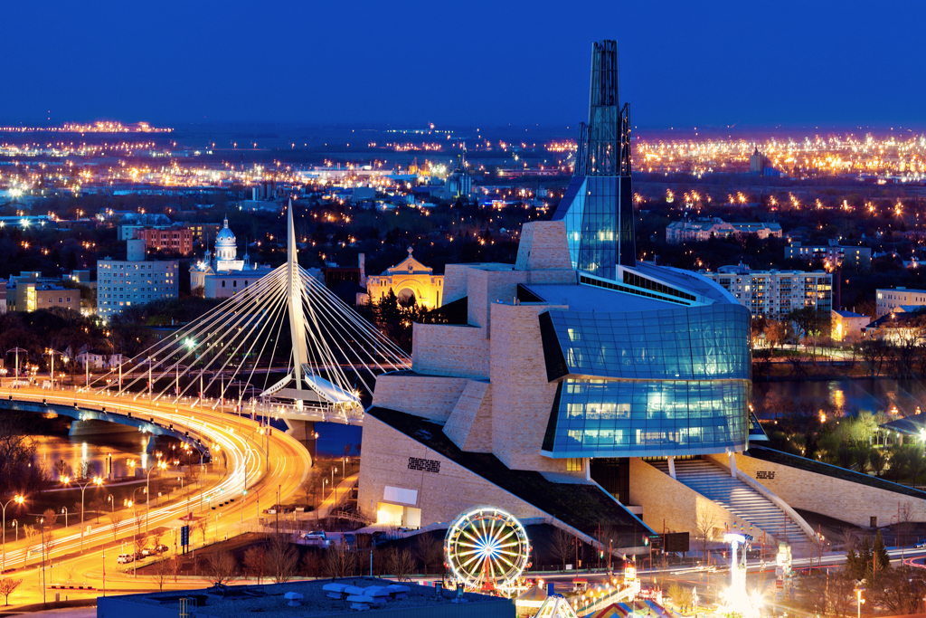 A view of the city of Winnipeg, Manitoba at night.