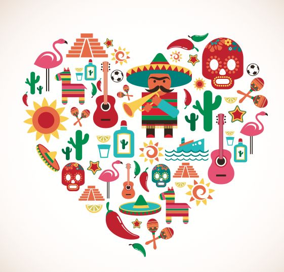 Heart of mexican symbols